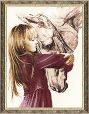 Картина Девочка с лошадью,  вышивка крестом